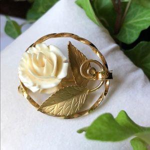 12K G.F. Carved Rose Pin/ Brooch